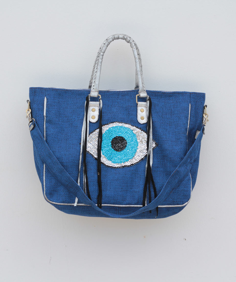 Cabas St Barth Evil Eye Bleu