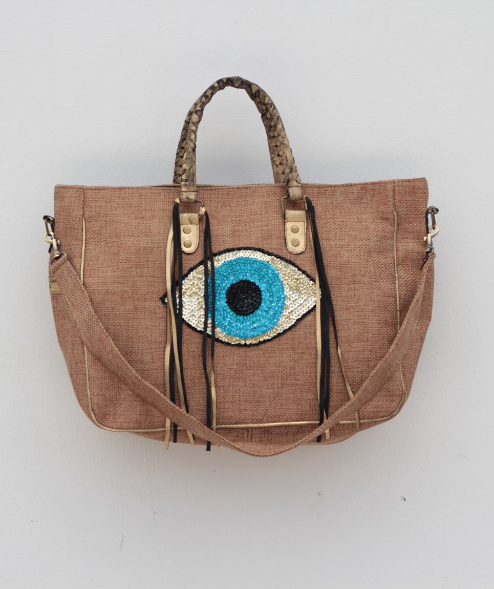 Cabas St Barth Evil Eye Natural