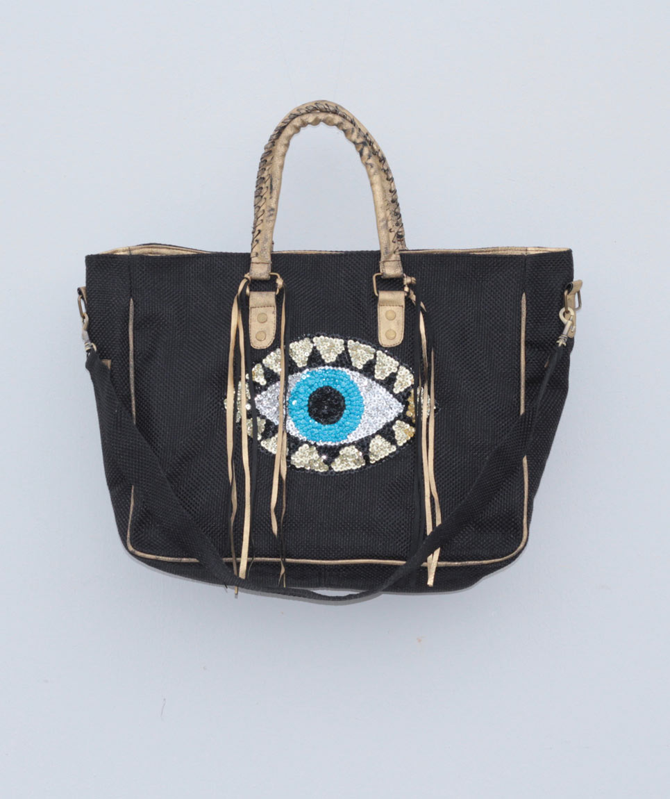 Cabas St Barth Evil Eye Noir