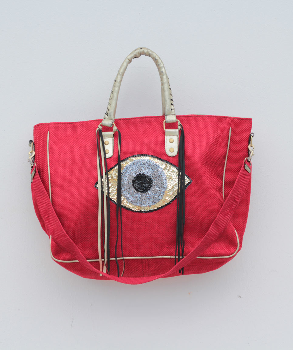 Cabas St Barth Evil Eye Rouge