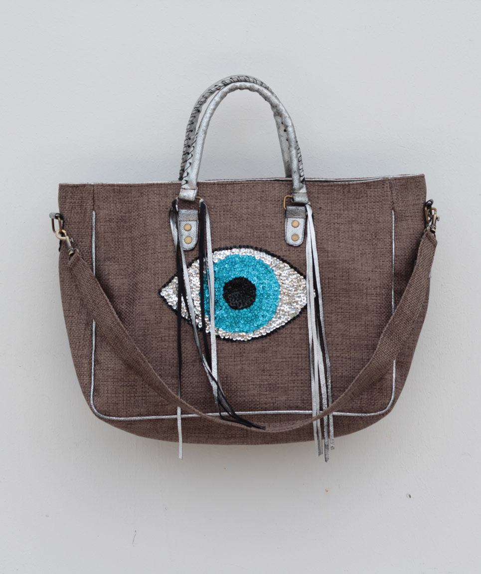 Cabas St Barth Evil Eye Taupe