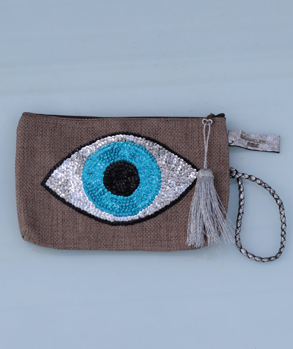 Clutch Evil Eye Taupe