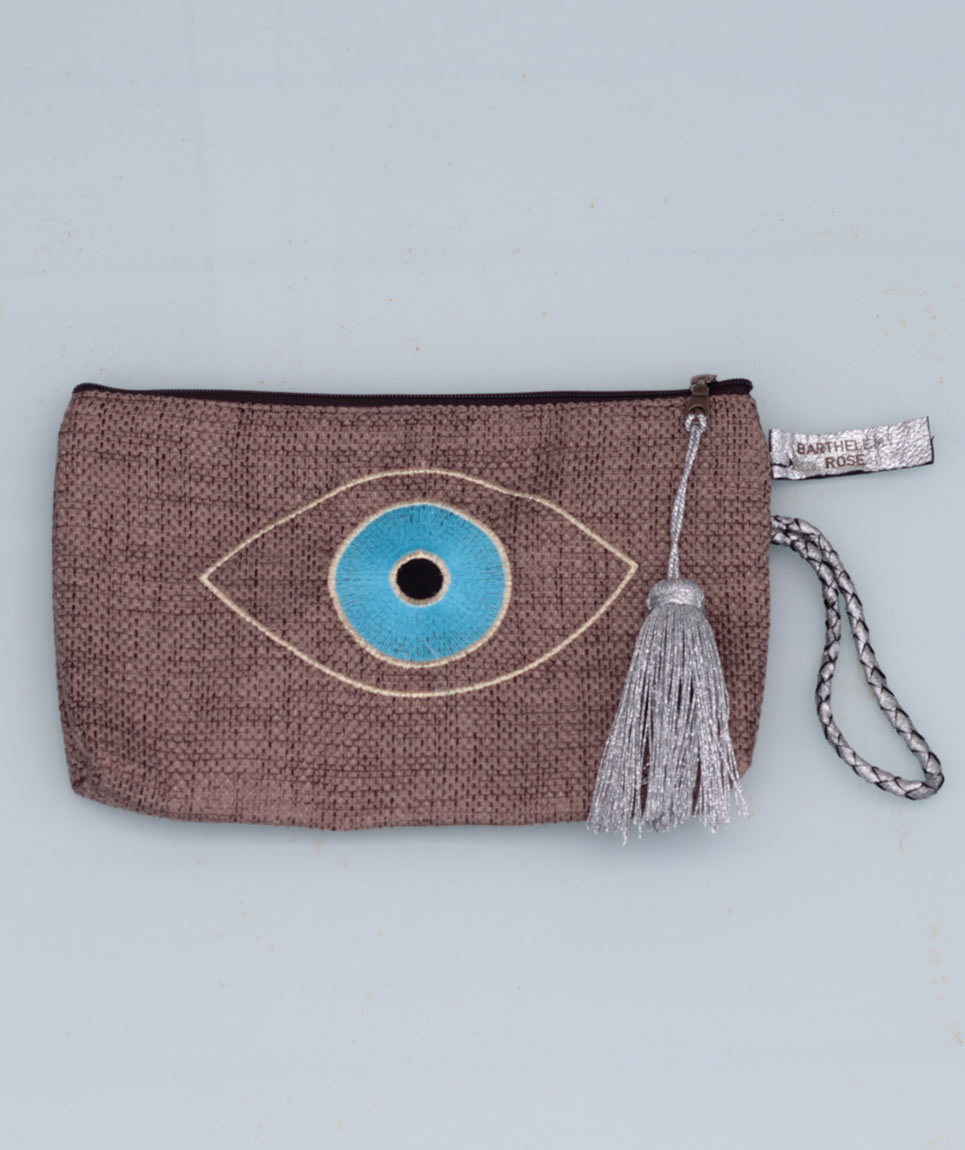 Clutch Evil Eye Taupe Chic